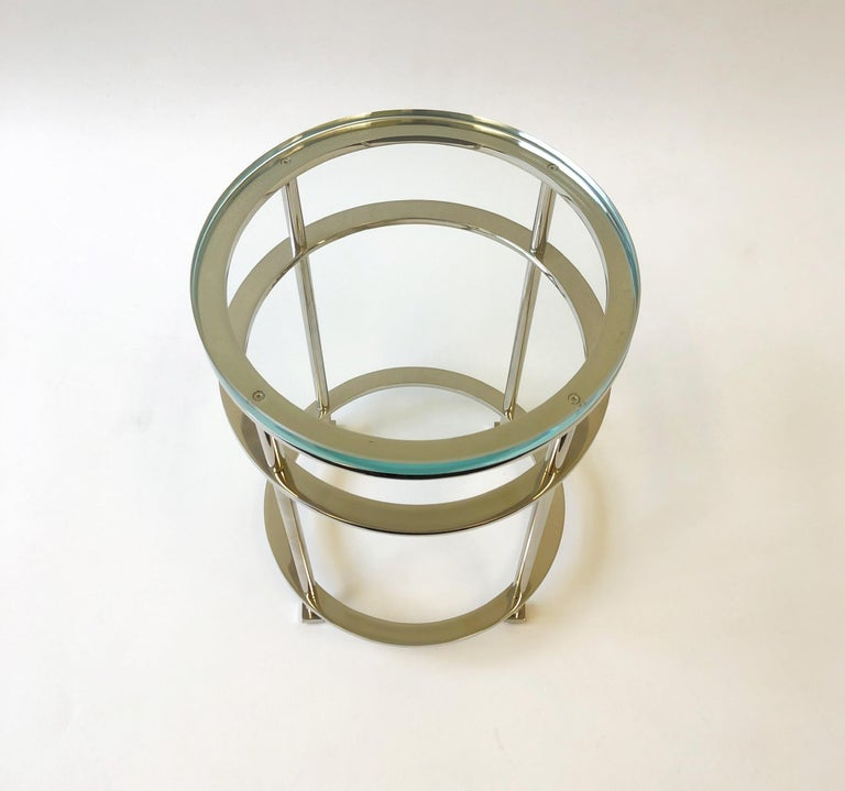 Pair of Nickel and Lucite Side Tables by Jean Michel Wilmotte for Mirak 1
