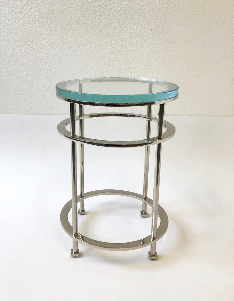 Pair of Nickel and Lucite Side Tables by Jean Michel Wilmotte for Mirak 2