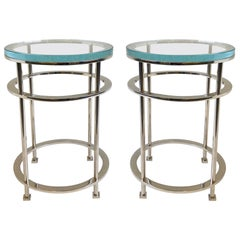 Pair of Nickel and Lucite Side Tables by Jean Michel Wilmotte for Mirak