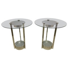 Pair of Nickel Plate and Glass Dorothy Thorpe Illuminated Side Tables