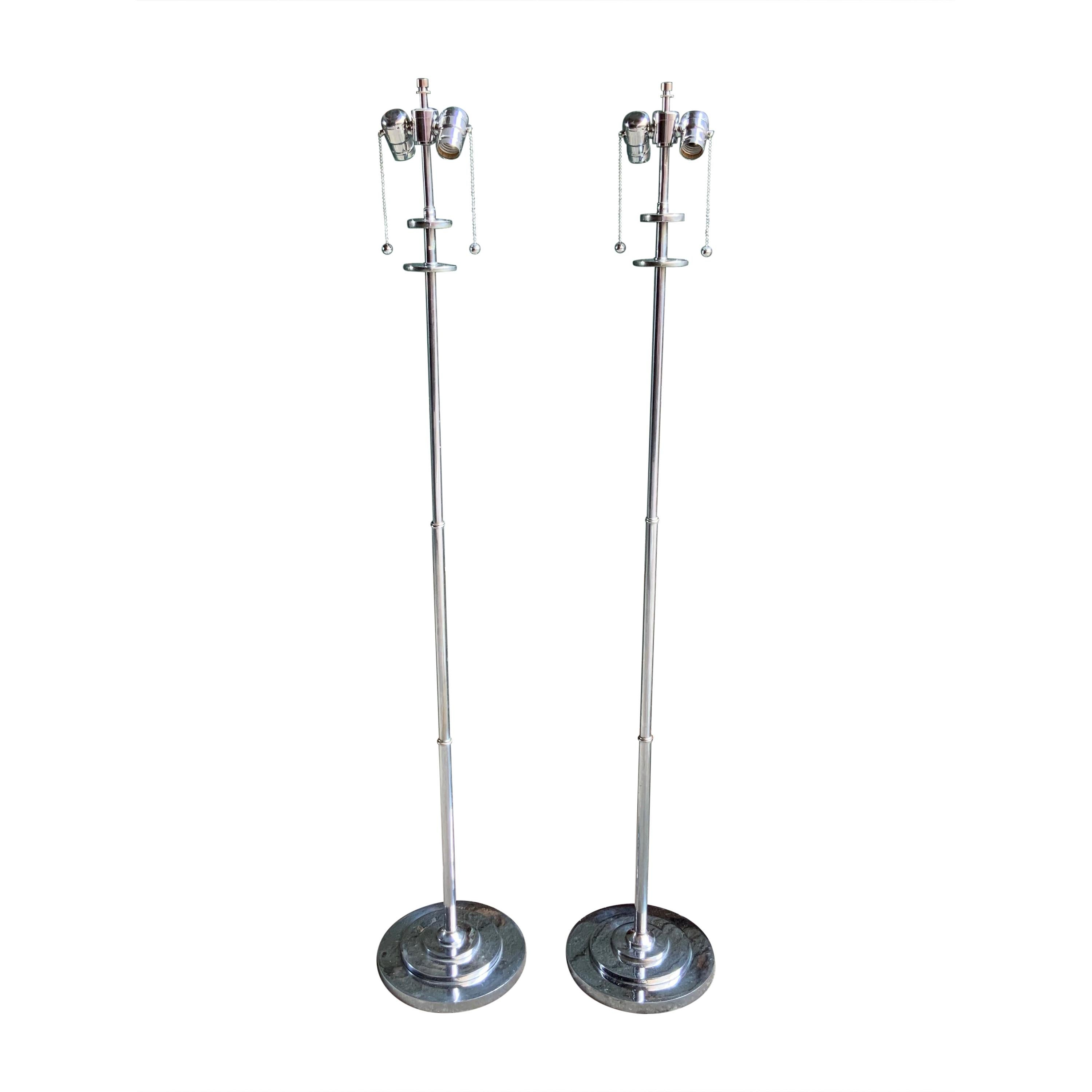 Pair of Nickel Plate Machine Age Floor Lamps