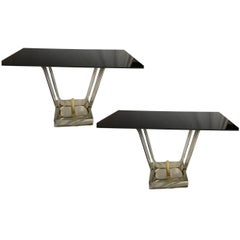 Pair of Nickel-Plated and Glass Console Tables