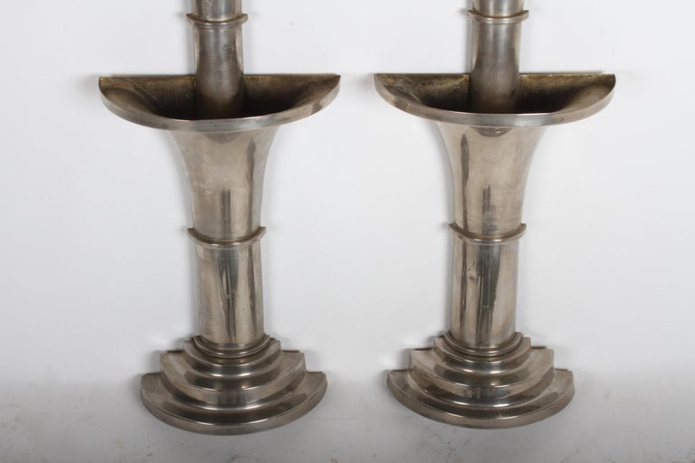 Pair of Nickel-Plated Art Deco Wall Floral Sconces For Sale 2