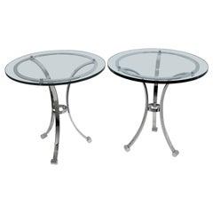 Pair of Nickel-Plated Maison Jansen Style Gueridon Tables