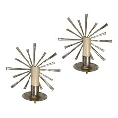 Pair of Nickel-Plated Sconces