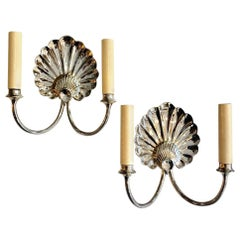 Pair of Nickel-Plated Shell Sconces