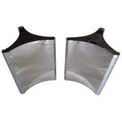 Pair of Nickel-Plated Steel Trilobi Table Bases Made by Mastercraft