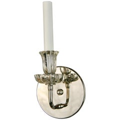 Pair of Nickel Tulips Glass Sconce
