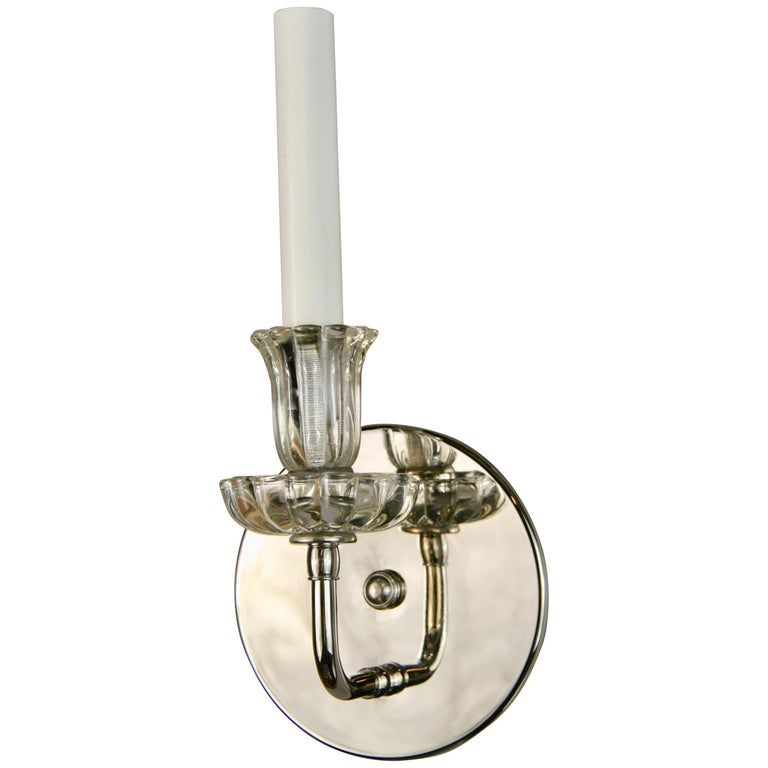 Pair of Nickel Tulips Glass Sconce For Sale