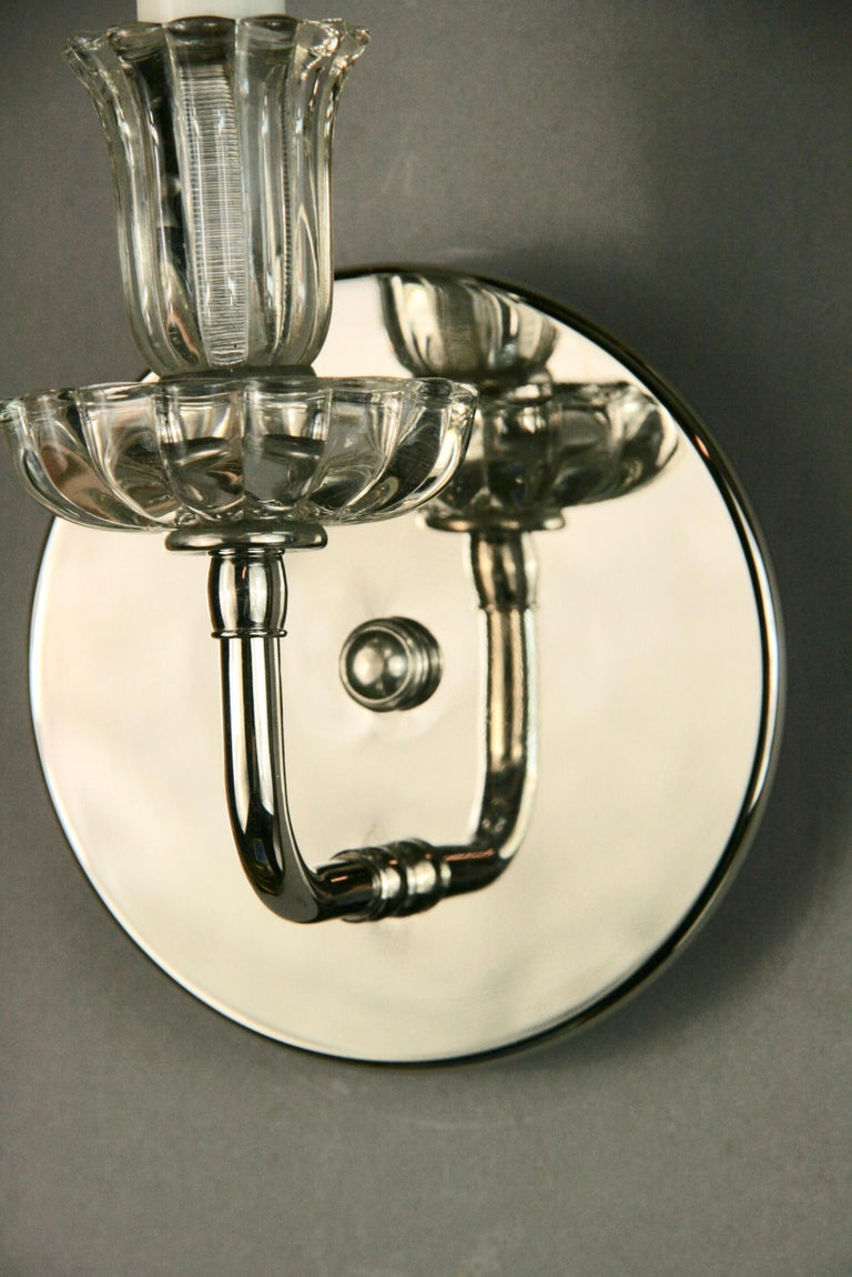 Pair of Mid Century Nickel Tulips Glass Sconce(2 pair available) For Sale 1