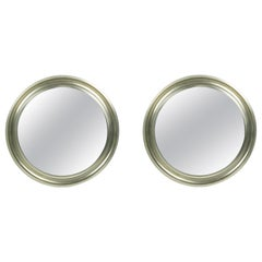 Pair of Nickeled and Black Metal small Specchio Mirrors by S. Mazza for Artemide