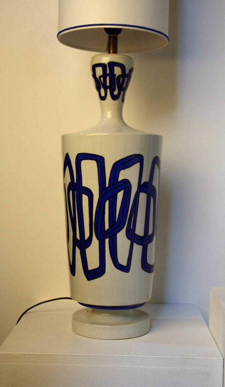 Modern Pair of French Ceramic Table Lamps from Nicolas Blandin For Sale