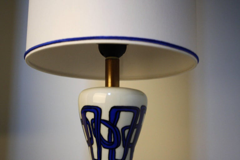 20th Century Pair of French Ceramic Table Lamps from Nicolas Blandin For Sale