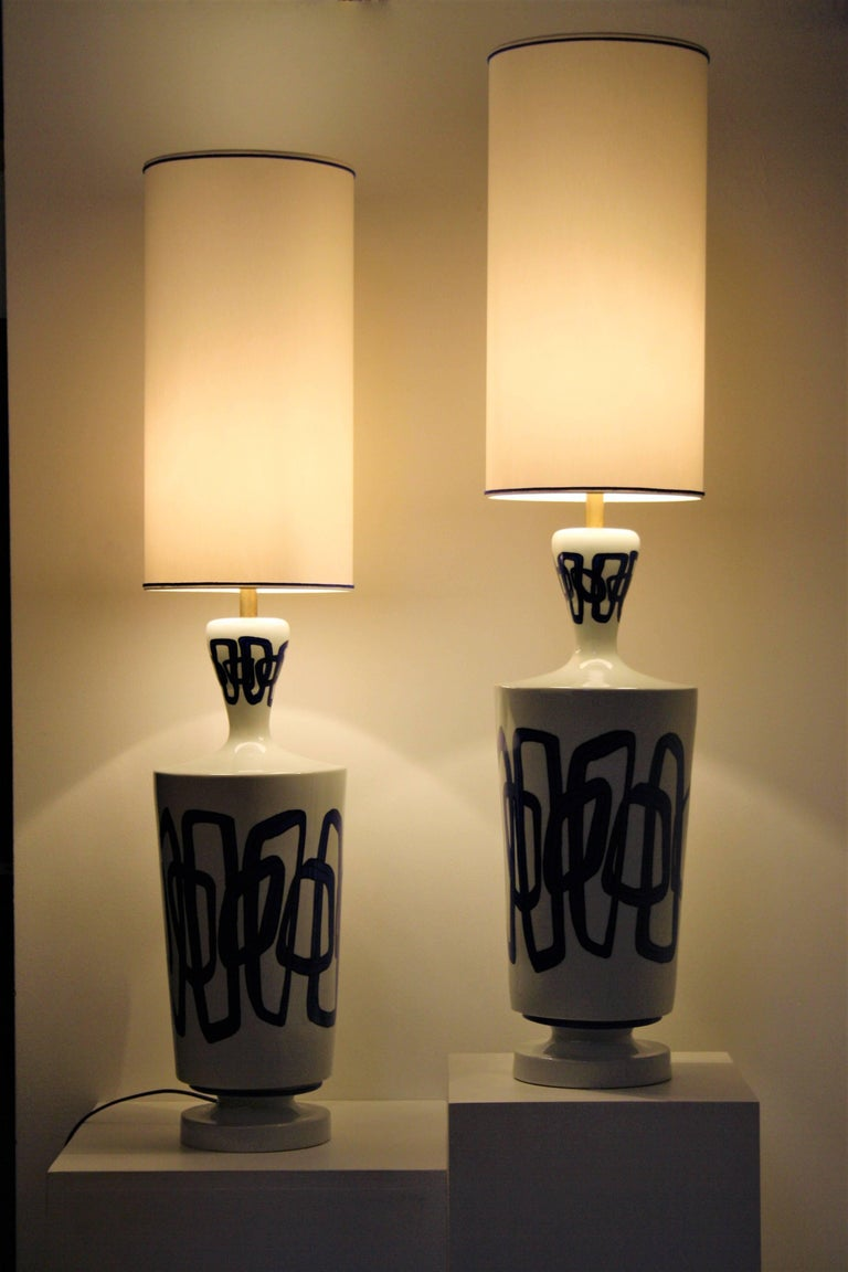 Pair of French Ceramic Table Lamps from Nicolas Blandin For Sale 1