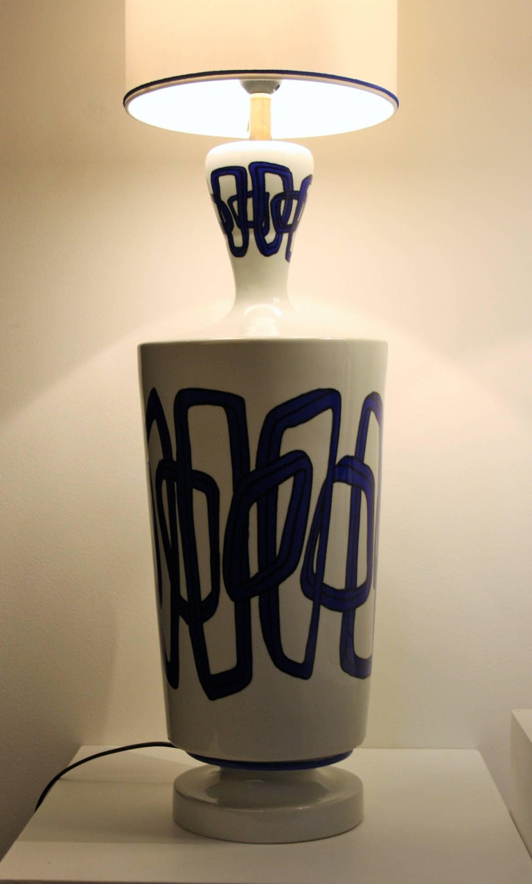 Pair of French Ceramic Table Lamps from Nicolas Blandin For Sale 2