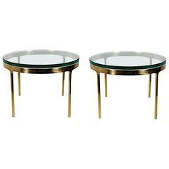 Pair of Nicos Zographos Solid Brass End Tables