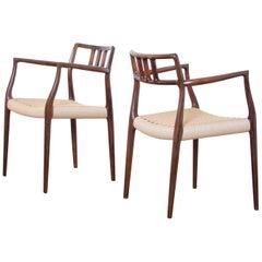 Pair of Niels Møller for J.L. Møllers Rosewood Carver Dining Chairs Model 64