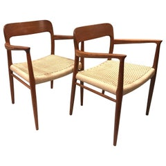 Pair of Niels Møller Midcentury Danish Modern Teak Armchairs for JL Møller