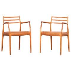 Pair of Niels Moller Møller Moeller Dining Chairs or Armchairs Mod. 62 , Denmark