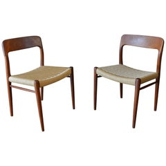 Pair of Niels Moller Side or Dining Chairs, Model 75, circa 1960