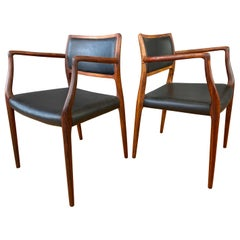 Pair of Niels Otto Møller Model 65 Rosewood Armchairs