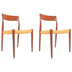 Pair of Niels Otto Møller Model 77 Danish Modern Dining Chairs in Teak