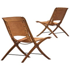 Pair of Nielsen and Hvidt X-Chairs in Mahogany and Cognac Leather