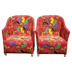 Pair of Nigerian Folk Art African Beaded Ceremonial Chairs in Red Tribal Pattern
