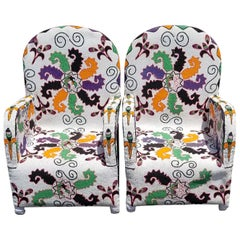 Pair of Nigerian Folk Art African Beaded Ceremonial Chairs White Tribal Pattern