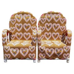 Pair of Nigerian Folk Art African Beaded Ceremonial Chairs with Heart Pattern