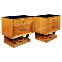 Pair of Nightstands, Maple and Bird's-Eye Maple, Opaline Glass, Brass, Italy
