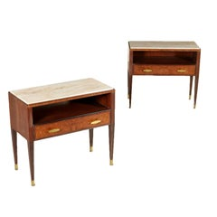 Pair of Nightstand Mahogany Brass Marble Vintage Italy, 1950s