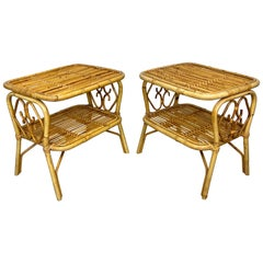 Pair of Nightstand Side Table in Bamboo Rattan, Italy, 1970s