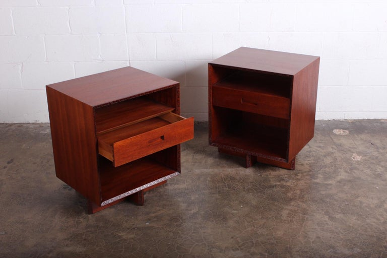 Pair of Nightstands by Frank Lloyd Wright for Henredon For Sale 5
