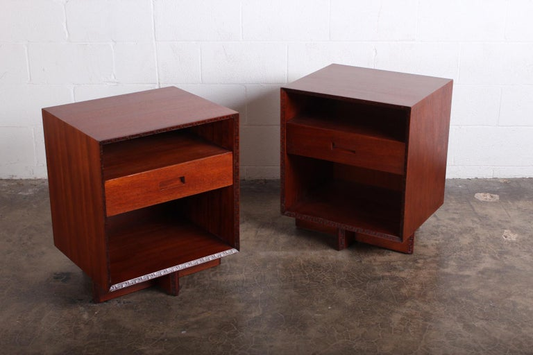 Pair of Nightstands by Frank Lloyd Wright for Henredon For Sale 1