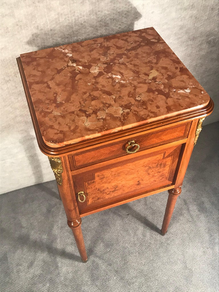 Veneer Pair of Nightstands, Early Art Nouveau Style, France, 19th century For Sale