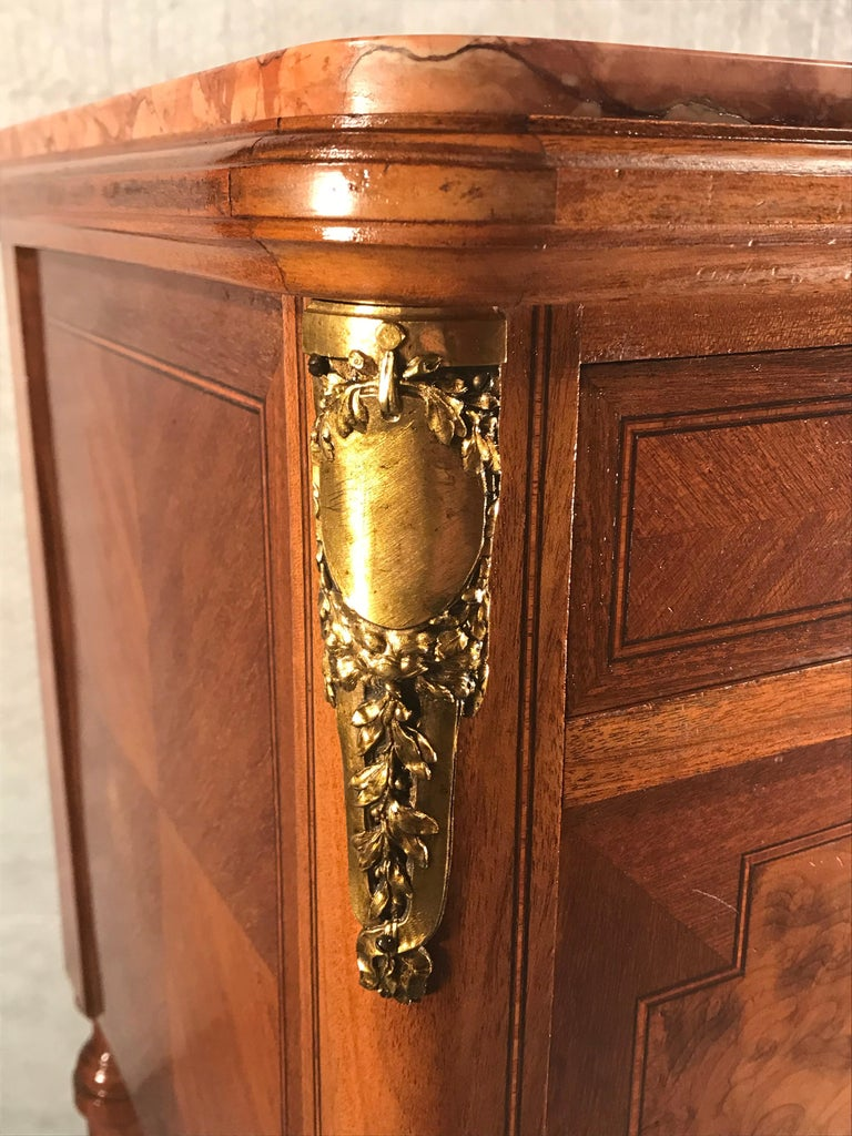 Mahogany Pair of Nightstands, Early Art Nouveau Style, France, 19th century For Sale