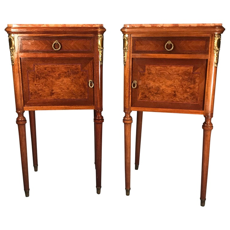 Pair of Nightstands, Early Art Nouveau Style, France, 19th century For Sale
