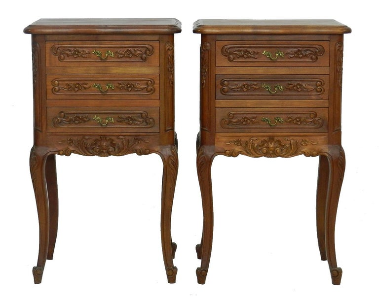 Pair of nightstands French side cabinets bedside tables, 20th century Louis revival