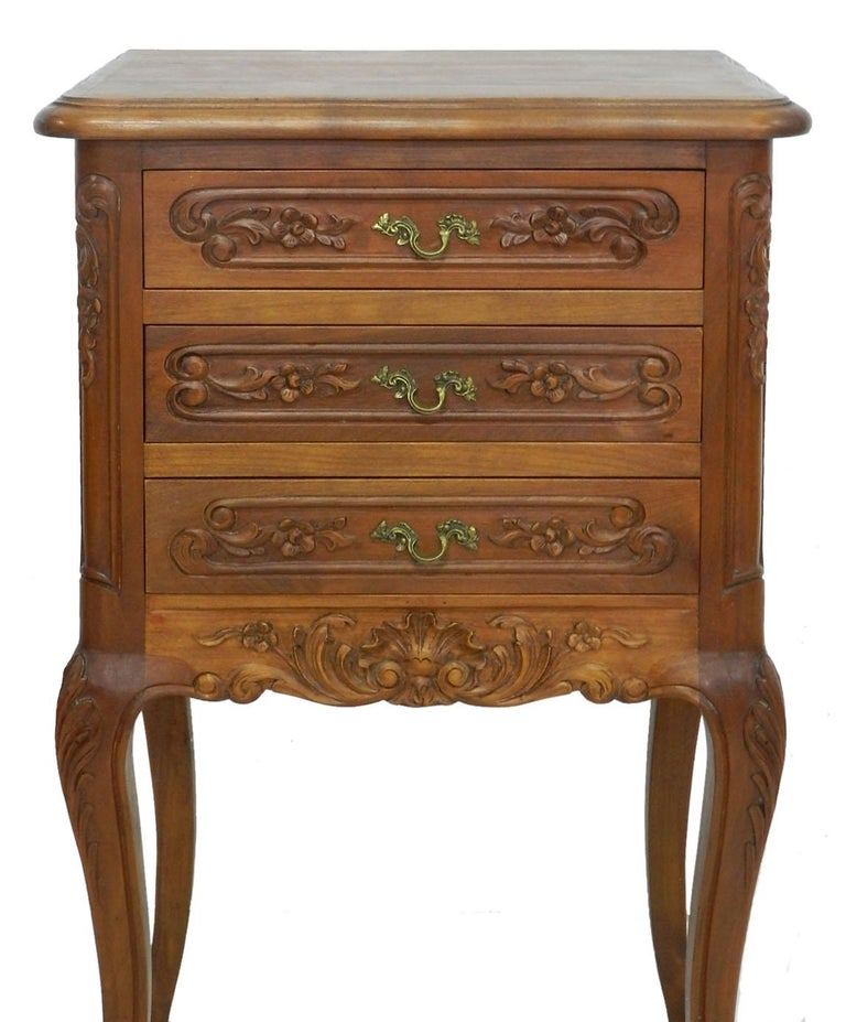 Louis XV Pair of Nightstands French Side Cabinets Bedside Tables, 20th Century For Sale
