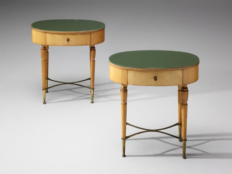 Italian Pair of Nightstands in Beech and Brass For Sale