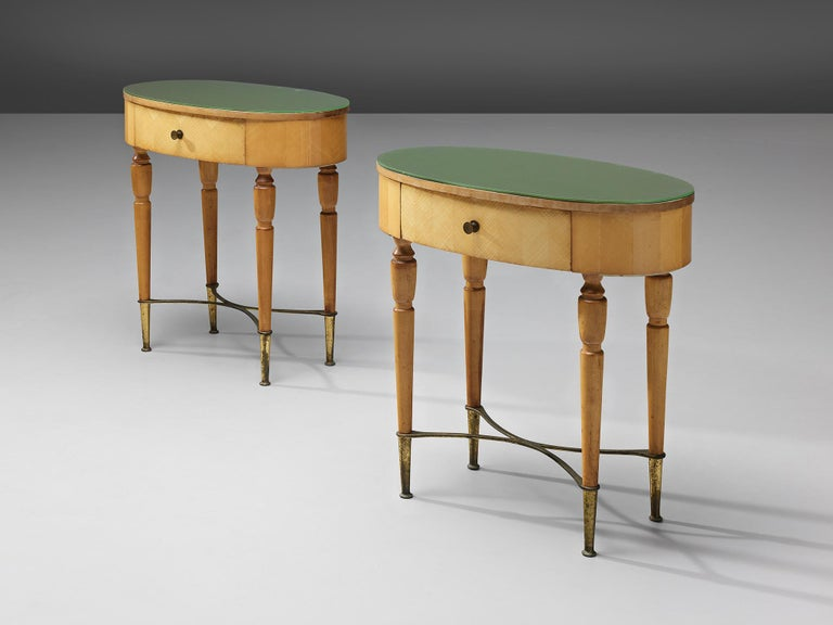 Pair of Nightstands in Beech and Brass For Sale 1