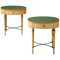 Pair of Nightstands in Beech and Brass