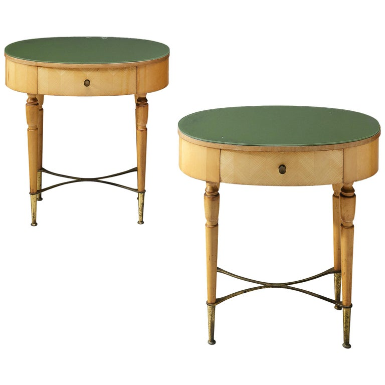 Pair of Nightstands in Beech and Brass For Sale