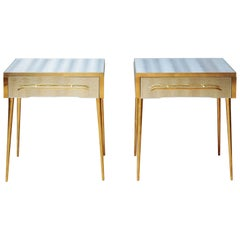 Pair of Nightstands in Mirror, One Drawer