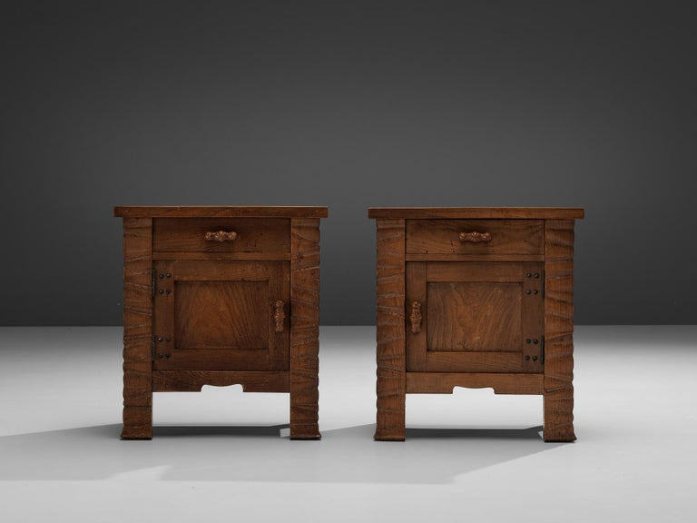 Pair of Nightstands in Oak by Ernesto Valabrega For Sale 5