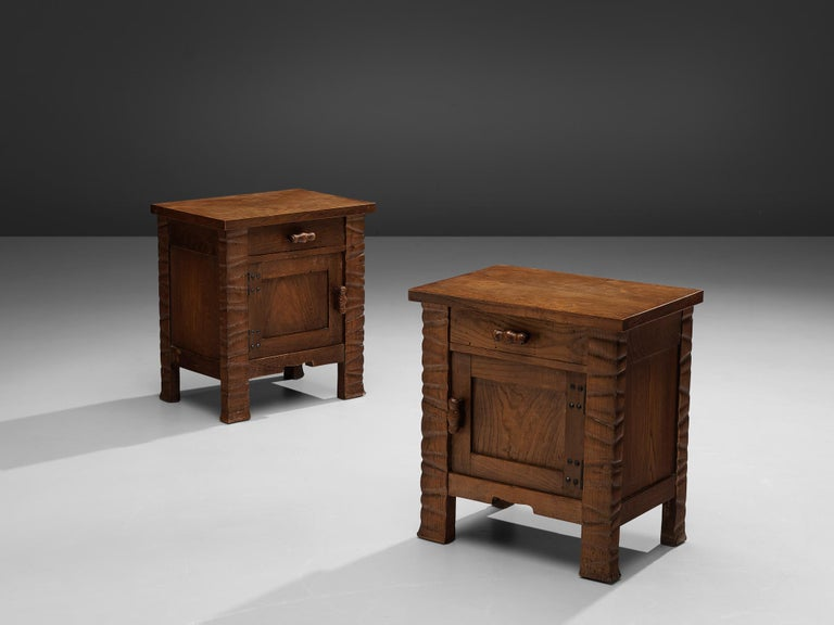 Ernesto Valabrega, pair of nightstands, oak, Italy, circa 1935  This pair of nightstands show beautiful craftsmanship and design by Ernesto Valabrega. Manufactured in oak, the nightstands show the beautiful grain of the wood on all sides. Truly