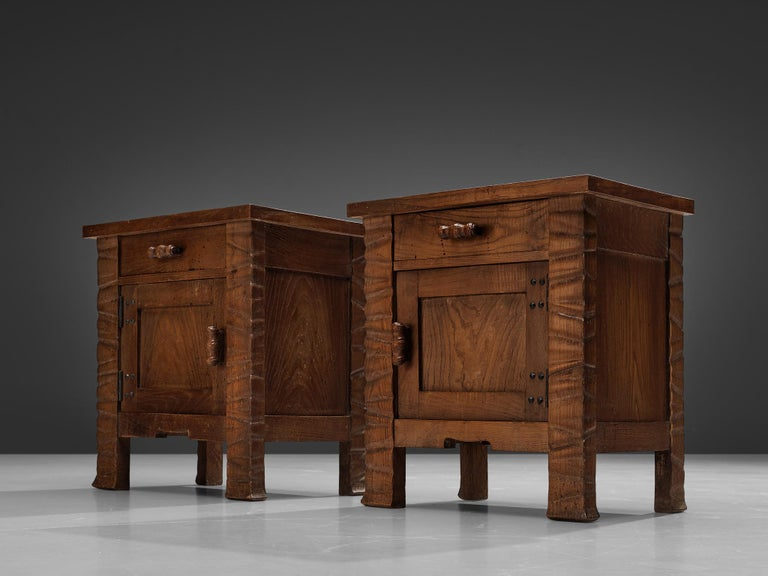 Art Deco Pair of Nightstands in Oak by Ernesto Valabrega For Sale