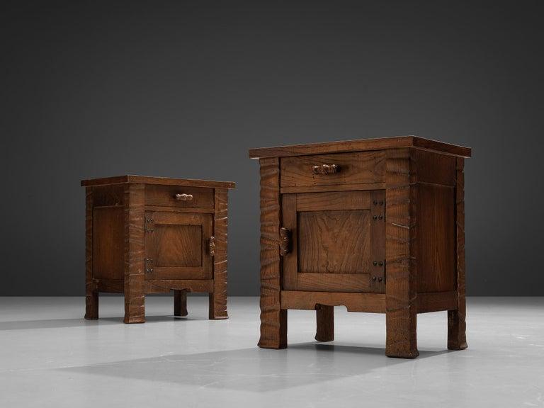 Pair of Nightstands in Oak by Ernesto Valabrega In Good Condition For Sale In Waalwijk, NL