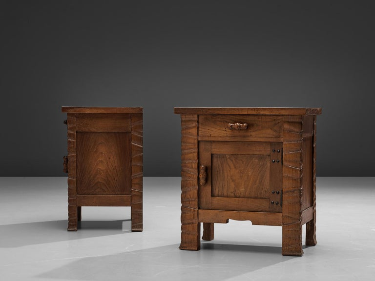 Pair of Nightstands in Oak by Ernesto Valabrega For Sale 2
